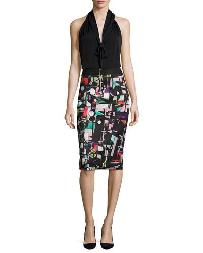 Tassel-Tie Silk Halter Blouse & Cubist-Print Midi Skirt