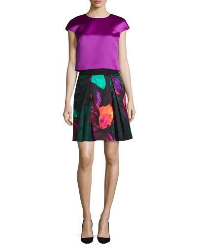 Duchess Satin Cap-Sleeve Top & Katie Floral-Print Skirt