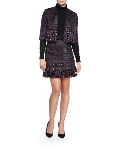 Couture Tweed Bolero with Tiered Fringe Trim, Detailed Long-Sleeve Turtleneck & Couture Tweed Fringe Skirt