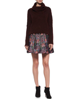 Gavin Cowl-Neck Pullover Sweater & Stora Deco-Print Pleated Skirt