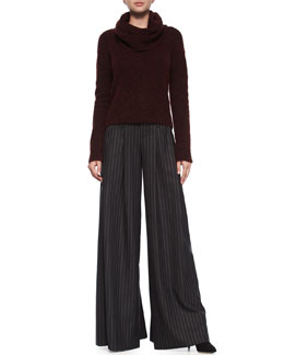 Gavin Cowl-Neck Pullover Sweater & Pinstripe Wide-Leg Pants