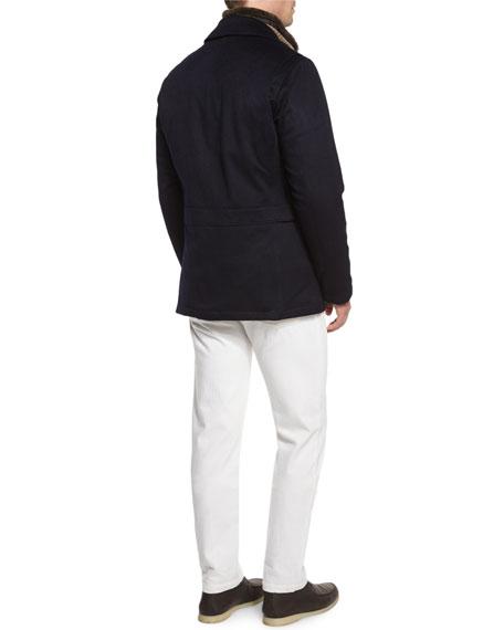 Five-Pocket Stretch Denim Jeans, Cream