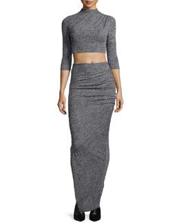 Christa Mock-Neck Crop Top & Octavia Ruched Wool Maxi Skirt