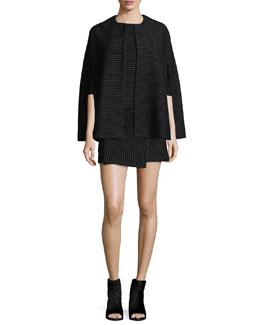 Pinstriped Kingsley Cape, Winston Top & Lennon Wrap Skirt