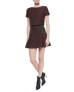 Sarina Jacquard Crop Top & Elsie Asymmetric Patterned Flare Skirt