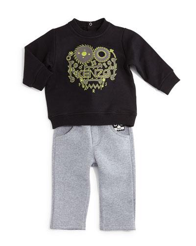 Embroidered Snap-Back Sweatshirt & Knit Drawstring Pants