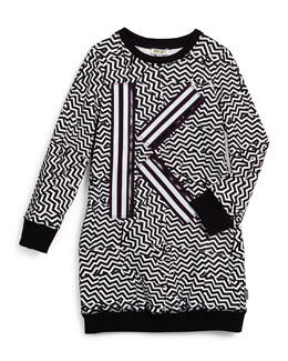 Long-Sleeve Zigzag-Print Knit Dress, Black/White
