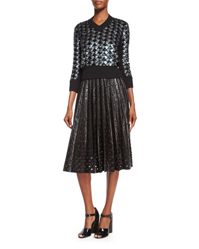 Geometric Sequined V-Neck Sweater & Grommet-Detailed Leather Midi Skirt