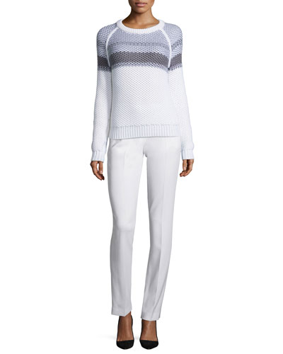 Larus Striped Jewel-Neck Sweater & Izelle B Admiral Crepe Pants