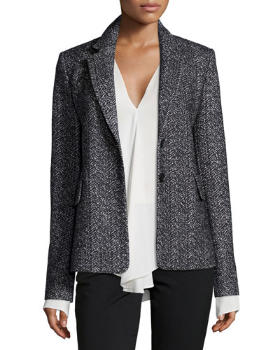 Teshonna Two-Button Distinct Blazer & Meniph Long-Sleeve Silk Top