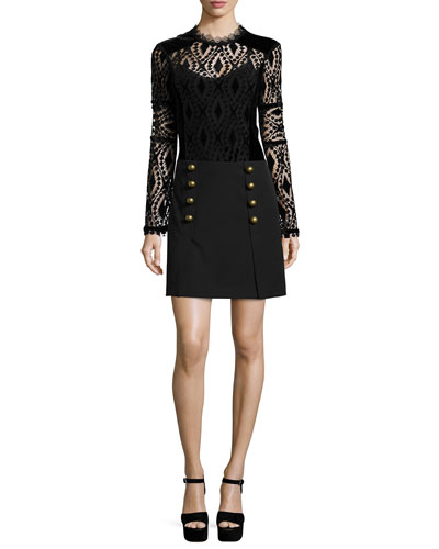 Long-Sleeve Lace/Velvet Peasant Blouse & A-Line Mini Skirt with Button Detail