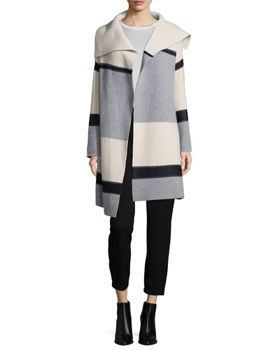Colorblock Wool/Cashmere Car Coat, Drop-Shoulder Crewneck Sweater & Patchwork Cargo Trousers