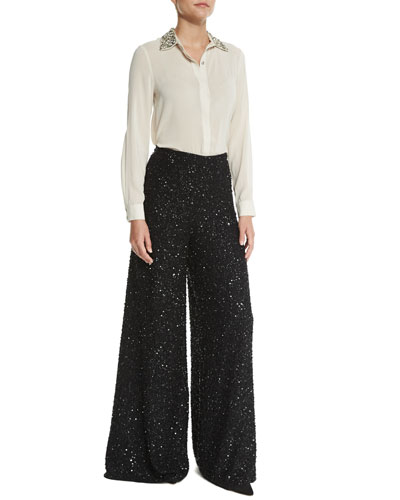 Saira Embellished Silk-Blend Blouse & High-Waist Embellished Wide-Leg Pants