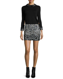 Lynda Wool Pullover Sweater & Elana Beaded Laser-Cut Skirt