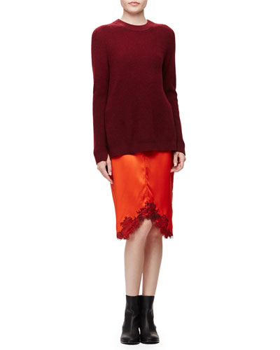 Valentina Cashmere Tunic Sweater & Izabella Lace-Trim Silk Skirt
