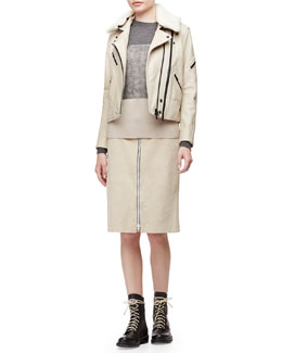Minerva Leather Jacket w/Shearling Collar, Marissa Colorblock Knit Sweater & Allison Front-Zip Suede Skirt