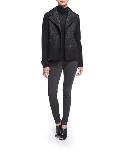 Kiana Woven Snap-Front Coat, Remmi Long-Sleeve Turtleneck Sweater & Trina Seamed Formfitting Pants W/ Zippers