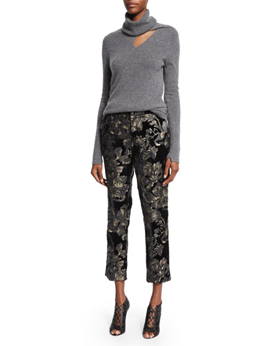 Billy Turtleneck Sweater & Baldwin Floral-Velvet Ankle Pants