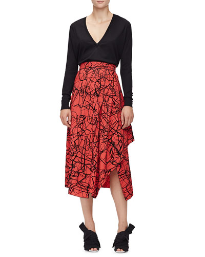 Merino Wool V-Neck Sweater & Scribble-Print High-Waist Skirt
