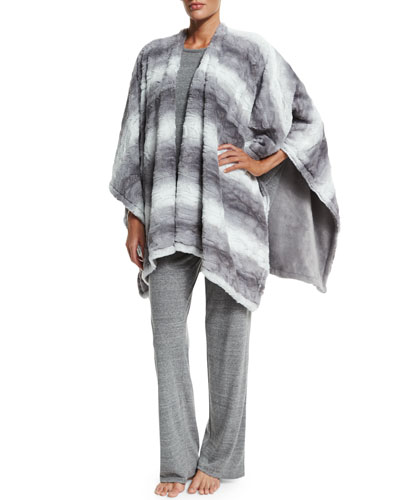 Reversible Blanket Shawl, Cosi Heathered Long-Sleeve Top & Lounge Pants