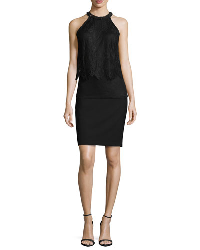 Fey Halter Lace Blouse & Bennet Pencil Skirt