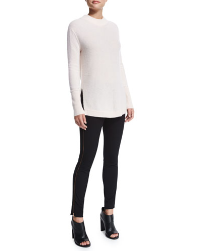 Alexis Cashmere Tunic & Chatel Slim-Leg Piped Pants