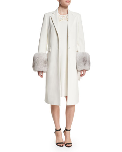 Long Fur-Trim Tailored Coat & Floral Embellished A-Line Dress