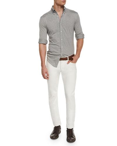 Long-Sleeve Pique-Knit Shirt & Five-Pocket Slim Pants