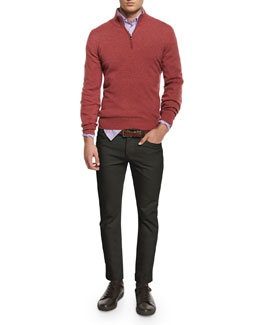 Cashmere-Blend Half-Zip Sweater, Mini-Check Woven Sport Shirt & Five-Pocket Slim Pants