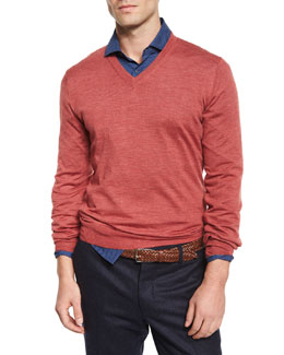 Polka-Dot Print Poplin Sport Shirt & Wool-Blend V-Neck Sweater