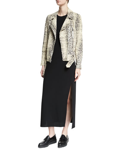 Corlyn Snake-Embossed Leather Jacket & Indra Sleeveless A-Line Midi Dress