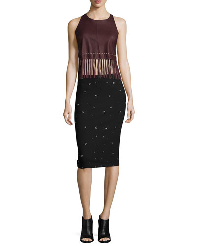 Brookline Leather Top W/Fringe Hem & Lima Grommet-Embellished Pencil Skirt