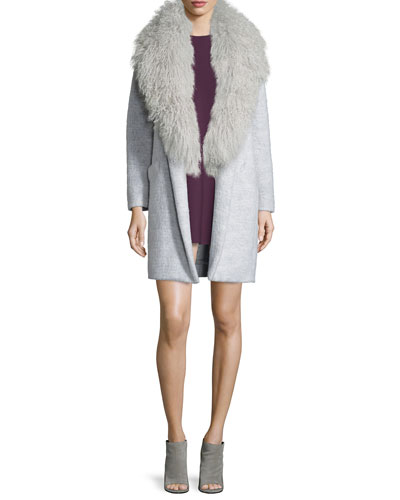 Iris Oversized Fur-Collar Long Coat & Lizabeth Flounce-Hem Mini Dress