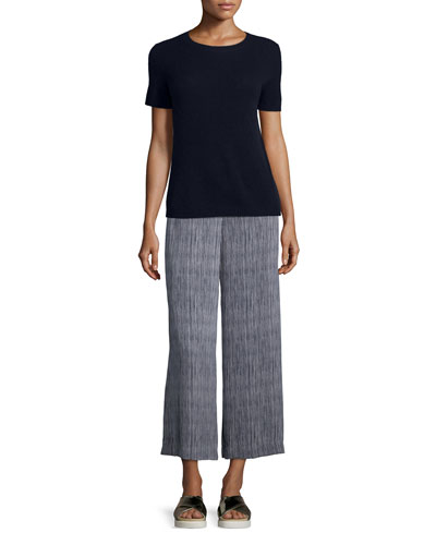 Tolleree B Short-Sleeve Cashmere Sweater & Raoka Olina Striped Culottes