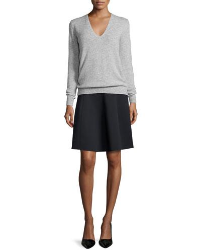 Adrianna Cashmere V-Neck Sweater & Igtios Mod Knit A-Line Skirt