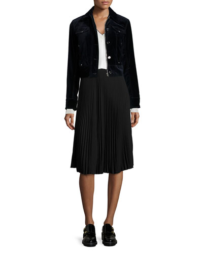 Ziggy Velvet Jacket, Maude Long-Sleeve Top & Maxine Pleated Skirt