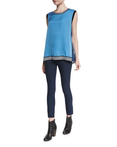 Anita Sleeveless Silk Tank & Simone Stretch Pants