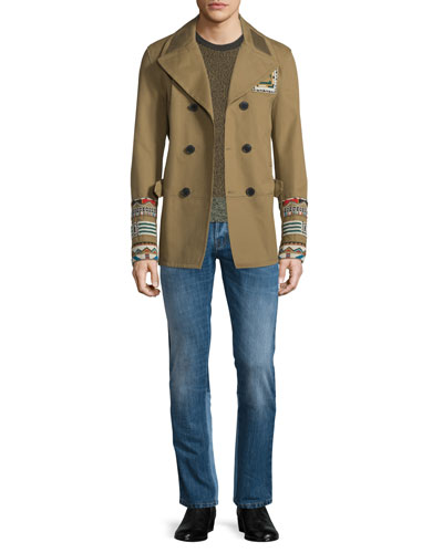 Beaded Button-Down Peacoat, Moline Colorblock Crewneck Sweater & Straight-Leg Denim Jeans