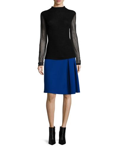 Maxina Merino Sweater w/ Sheer Sleeves & Mirella Two-Zip Side-Pleated Skirt