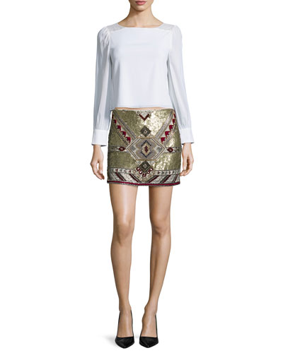 Bey Long-Sleeve Lace-Trim Blouse & Elana Embellished Mini Skirt