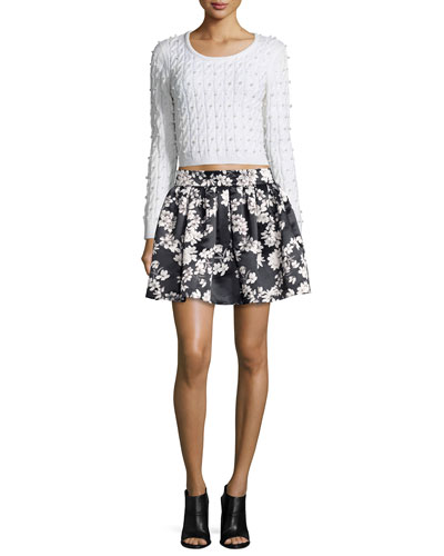 Ora Cropped Wool Cardigan Sweater & Fizer Southern Blossom Pleated A-Line Skirt
