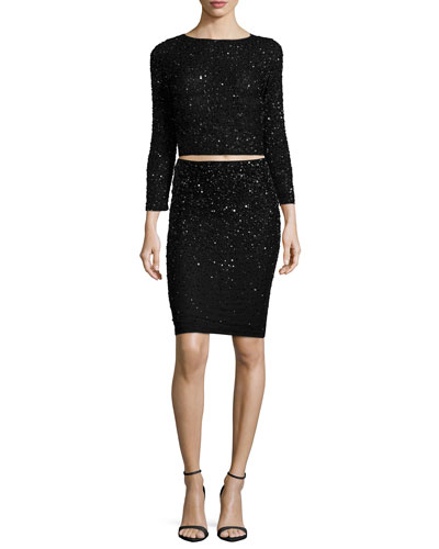 Lacey Embellished Bracelet-Sleeve Crop Top & Ramos Embellished Pencil Skirt