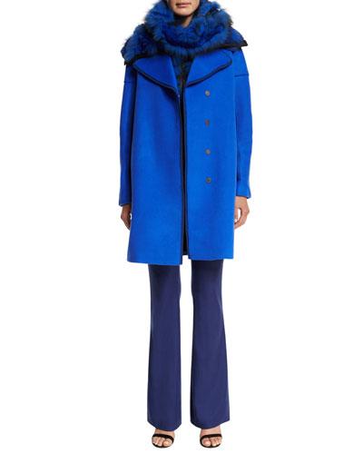 Louisa Wool Coat, Karina Fur Vest W/Leather Trim, Bethie Fur Scarf  & Marg High-Waist Flare-Leg Pants