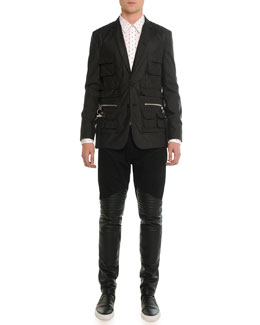 Utility-Pocket Nylon Blazer, Cross-Printed Woven Shirt & Denim Pants with Leather Trim