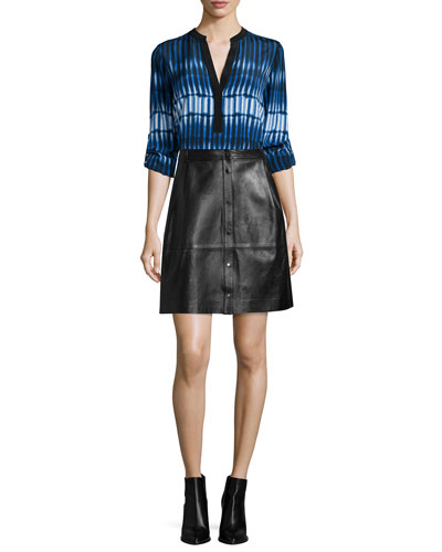 Tie-Dye Striped Popover Blouse & Snap-Front Leather Skirt