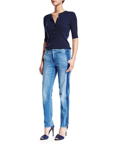 Skinny-Rib Quarter-Sleeve Henley Shirt & Denim Side-Strapping Pants