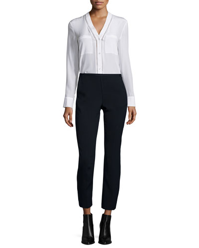 Ladder-Stitch Button-Down Silk Blouse & Easy Pull-On Pants