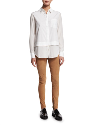 Layered Poplin Button-Down Shirt & Stretch-Suede Zipper Cuff Leggings