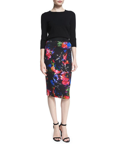 3/4-Sleeve Zip-Back Pullover & Floral-Print Pencil Skirt