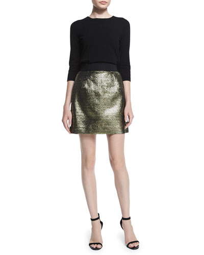 3/4-Sleeve Zip-Back Pullover & Metallic Jacquard Back-Zip Miniskirt